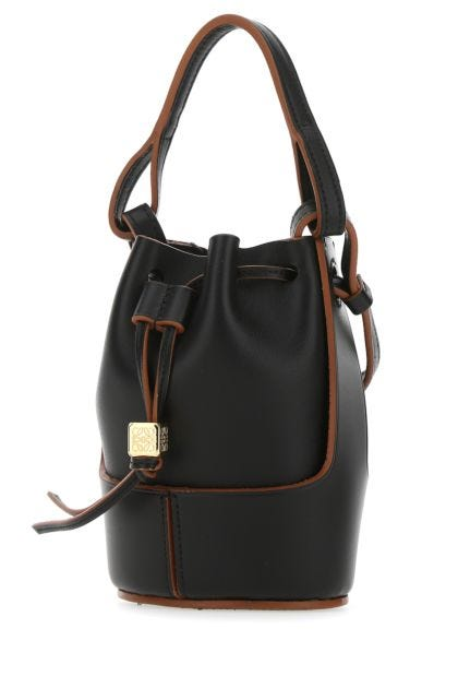 Black leather Paula's Ibiza nano Balloon bucket bag