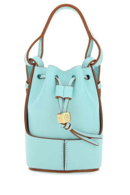 Light blue leather Paula's Ibiza nano Balloon bucket bag