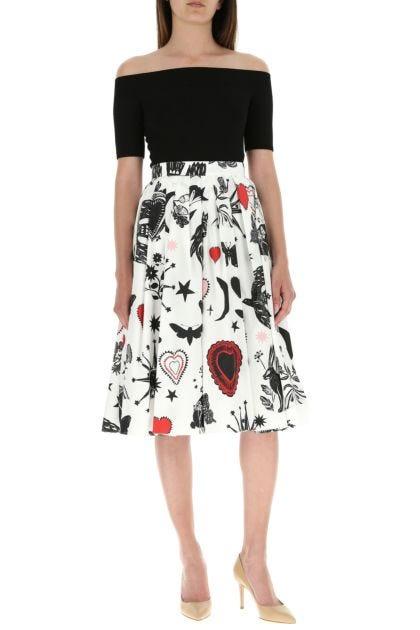 Printed poplin skirt