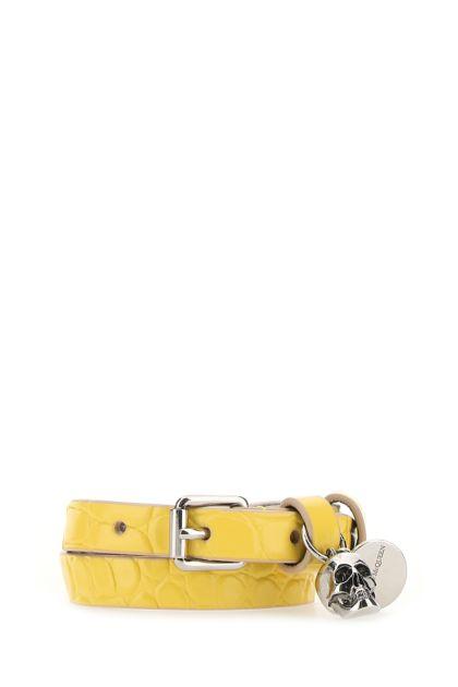 Yellow leather bracelet