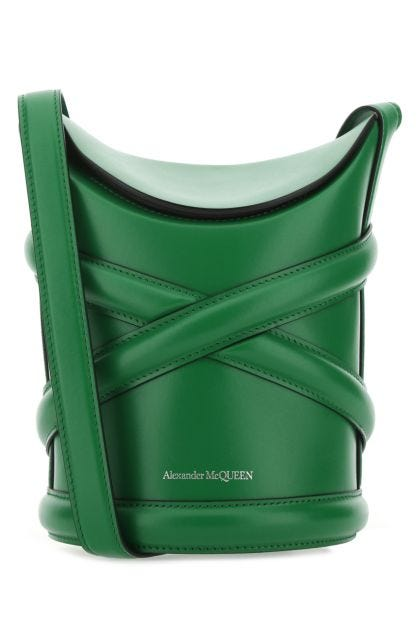 Green leather The Curve bucket bag