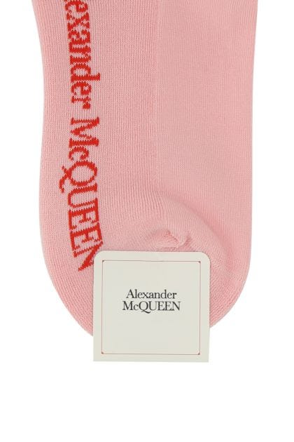 Pink stretch cotton blend socks