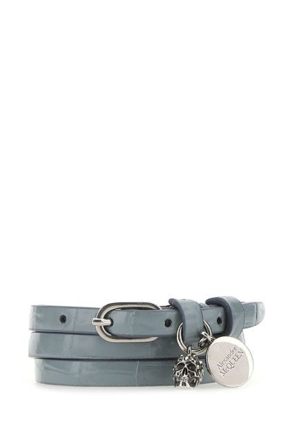 Powder blue leather bracelet