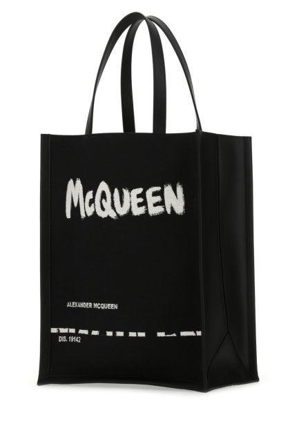 Black fabric handbag