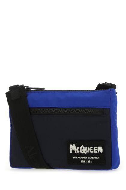 Two-tone fabric crossbody bag