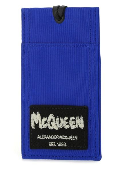 Electric blue nylon McQueen Tag card holder