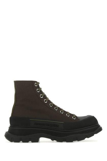 Army green canvas Tread Slick ankle boots