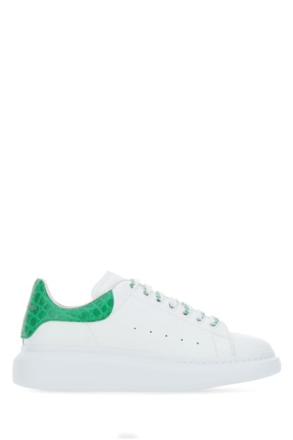 White leather sneakers with grass green leather heel