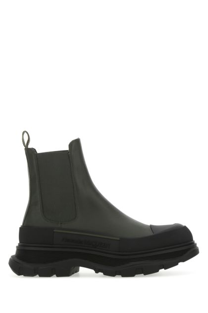 Dark green leather Tread Slick ankle boots