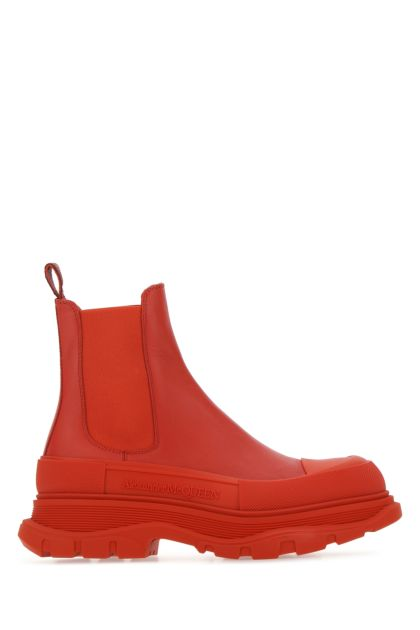 Red leather Tread Slick ankle boots