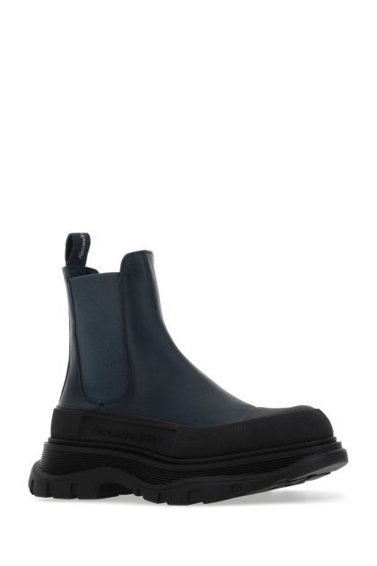 Navy blue leather Tread Slick ankle boots
