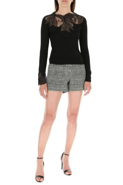 Embroidered stretch wool blend shorts