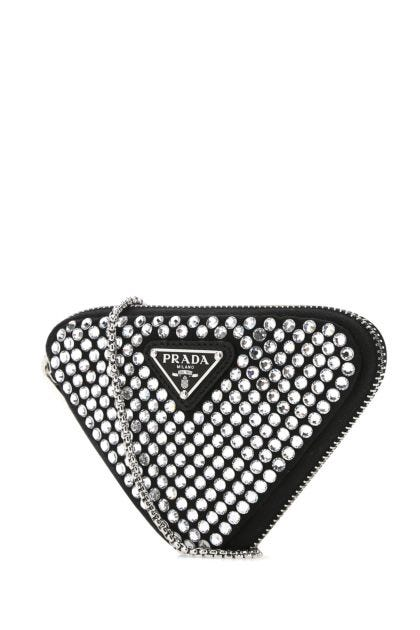 Embellished satin mini pouch