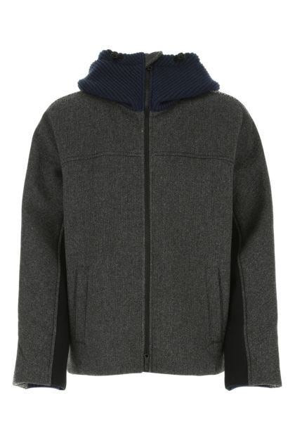 Multicolor nylon and wool blend padded jacket