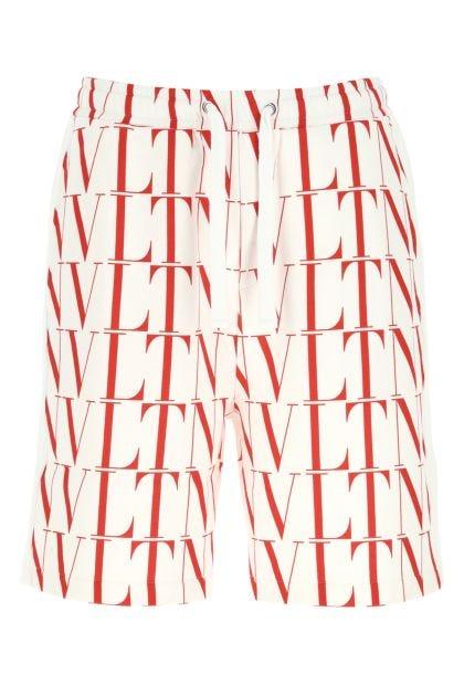 Printed cotton blend bermuda shorts