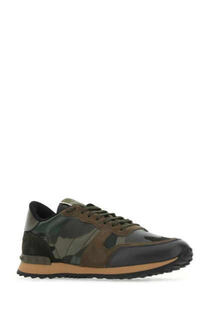 Multicolor fabric and nappa leather Rockrunner Camouflage sneakers