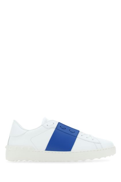 White leather Open sneakers with turquoise band