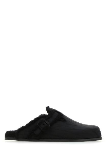 Black nylon VLTN Times slippers
