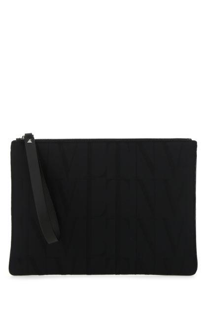 Black nylon VLTN Times clutch