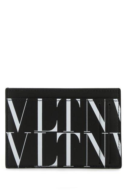 Printed leather VLTN Times card holder