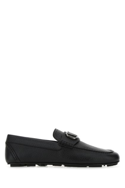 Black leather VLogo Signature loafers
