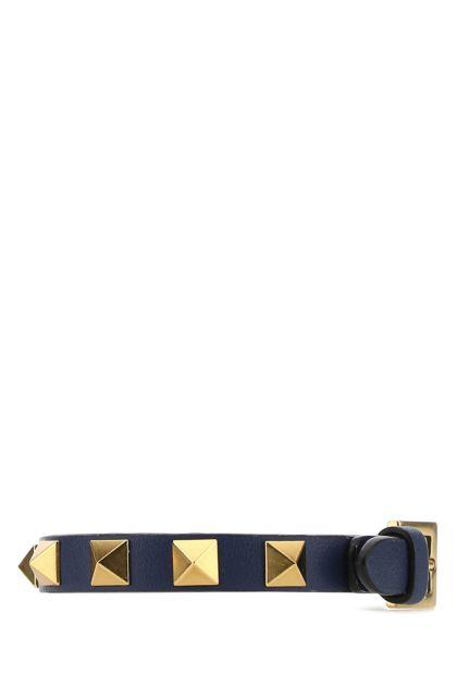 Blue leather Rockstud bracelet