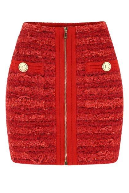 Red bouclé mini skirt