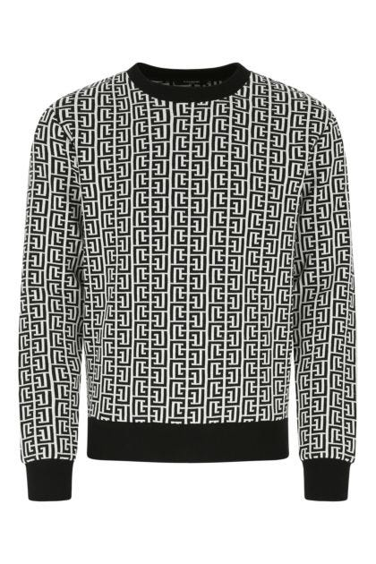 Embroidered cotton blend sweater