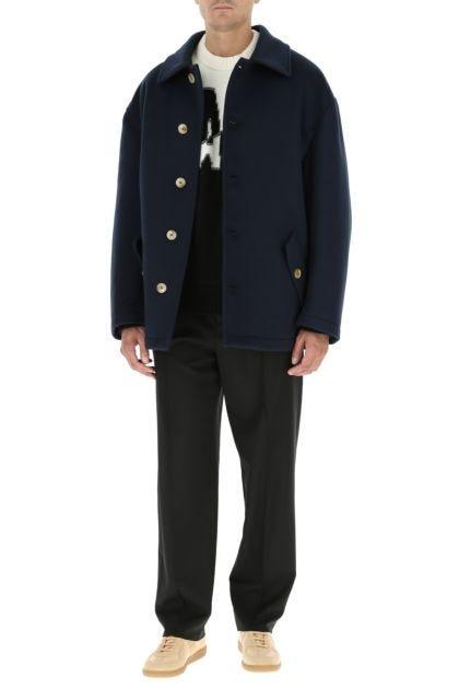 Dark blue wool padded coat