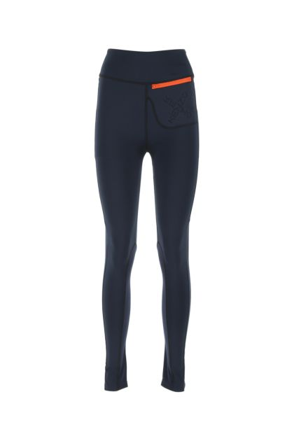 Dark blue stretch polyester leggings