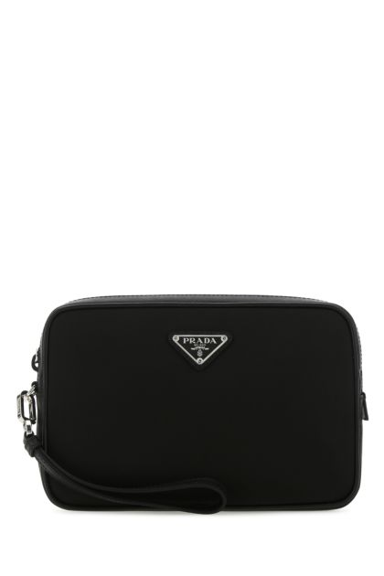 Black Re-nylon and leather clutch