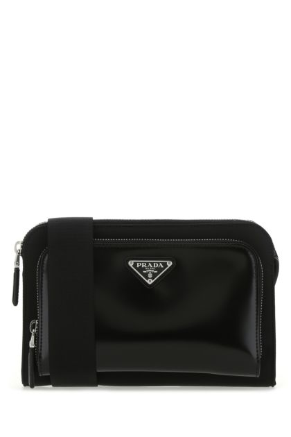Black Re-nylon and leather crossbody bag