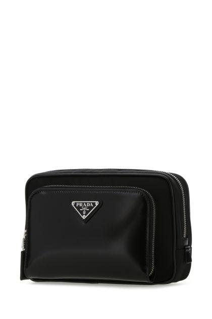 Black Re-nylon and leather belt bag