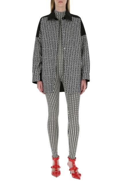 Printed stretch nylon jumpsuit