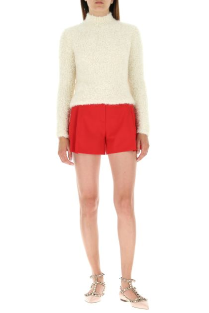 Red stretch polyester blend shorts