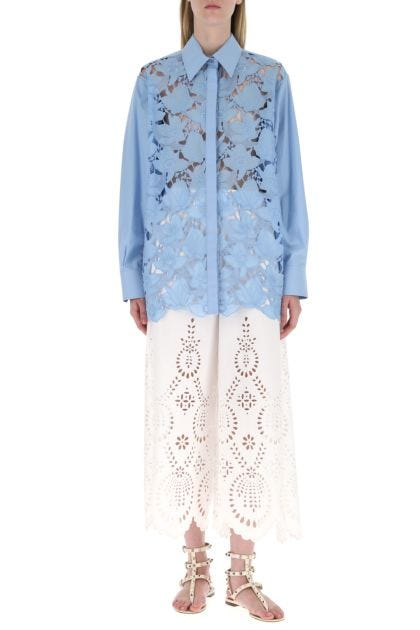Light blue poplin oversize shirt