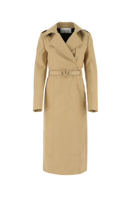 Beige polyester blend trench coat