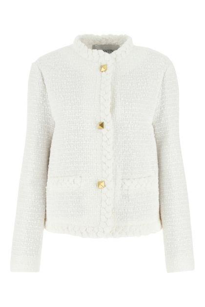 White tweed blazer