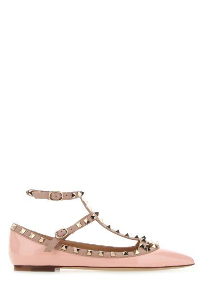 Pink leather Rockstud ballerinas