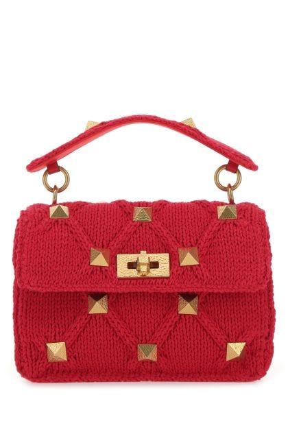 Red fabric Roman Stud handbag