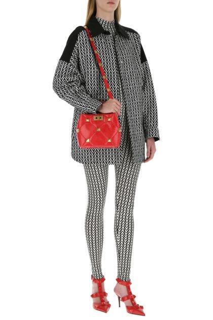 Red snakeskin small Roman Stud handbag