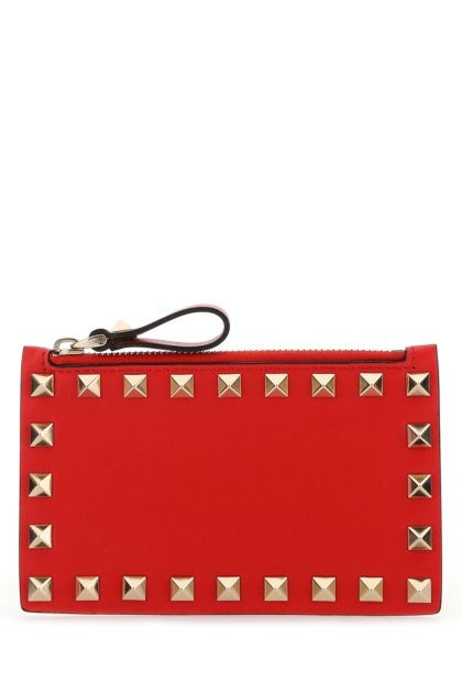 Red leather Rockstud card holder