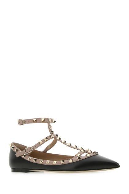Black leather Rockstud ballerinas