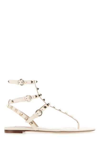 Ivory leather Rockstud thong sandals