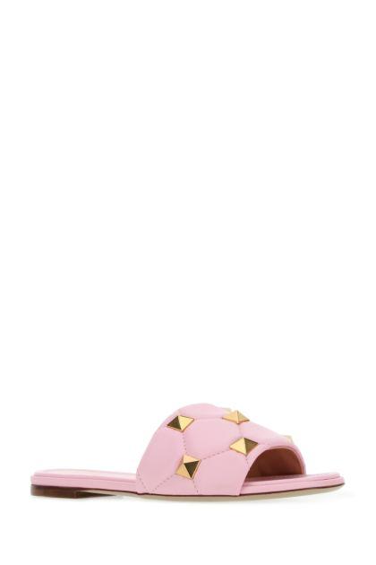 Pastel pink nappa leather Roman Stud slippers