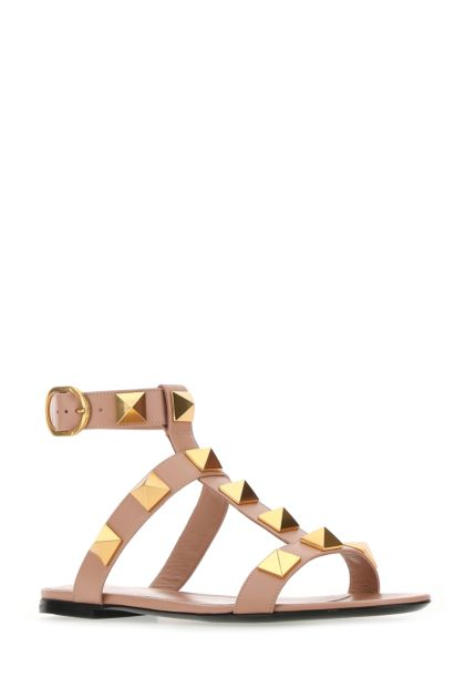 Powder pink leather Roman Stud sandals