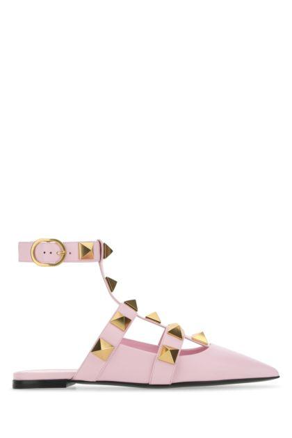 Pink leather Roman Stud ballerinas