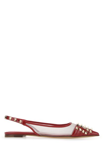 Red leather and mesh Rockstud Alcove ballerinas