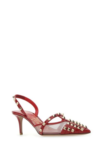 Red leather Rockstud Alcove pumps