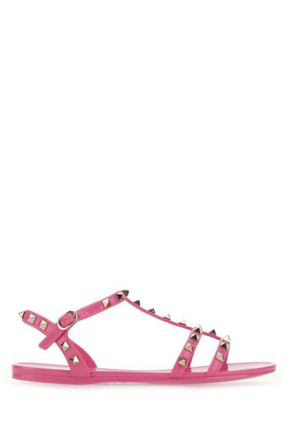 Fuchsia rubber Rockstud sandals